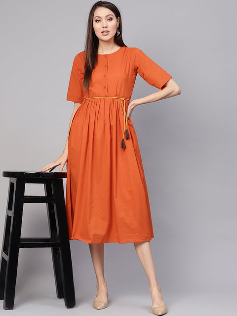 Women Rust Orange Solid A-Line Dress
