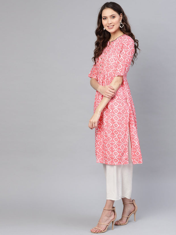 Women Pink & Off-White Printed Straight Kurta