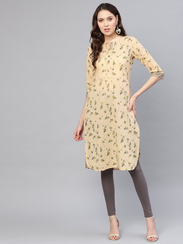 Women Beige & Green Printed Straight Kurta