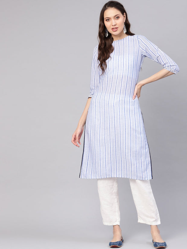 Women Blue & White Striped Straight Kurta