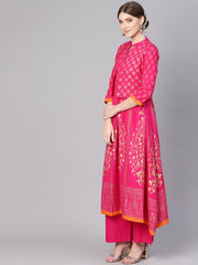 Women Pink & Golden Block Print Kurta with Palazzos & Ethnic Jacket