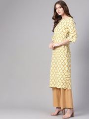 Women Cream-Coloured & Mustard Brown Printed Straight Kurta