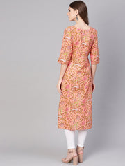 Women Peach-Coloured & Olive Green Printed Straight Kurta