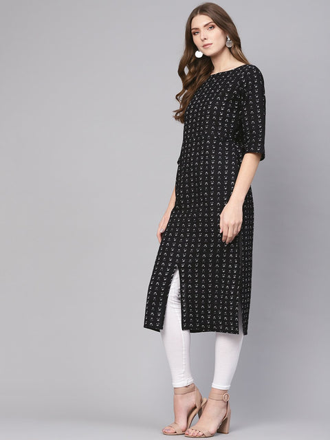 Women Black & White Printed Straight Kurta