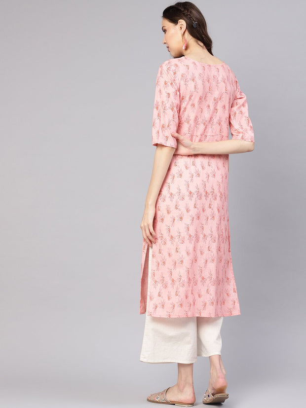 Women Peach-Coloured Printed Straight Kurta