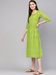 Women Green & Yellow Bandhej Printed A-Line Dress