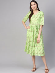 Women Green & Pink Printed A-Line Dress
