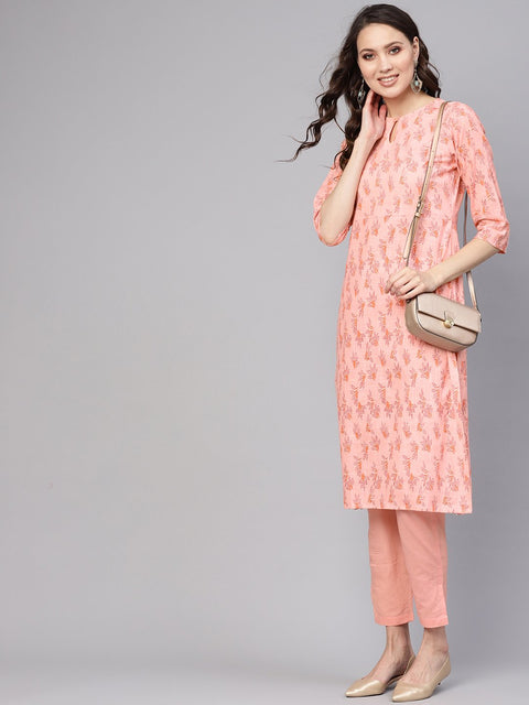 Women Peach-Coloured Printed Kurta with Trousers