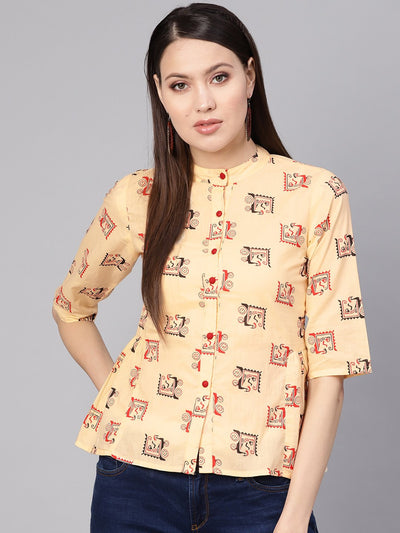 Women Cream-Coloured & Red Printed Shirt Style Top