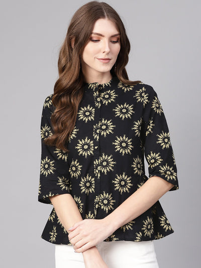 Women Black & Cream-Coloured Printed Shirt Style Top