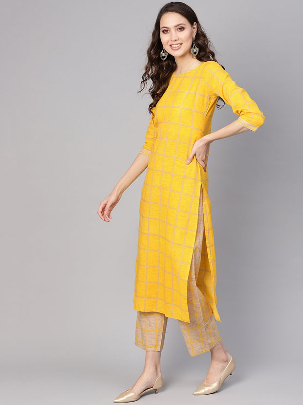 Women Yellow & Beige Checked Kurta with Trousers