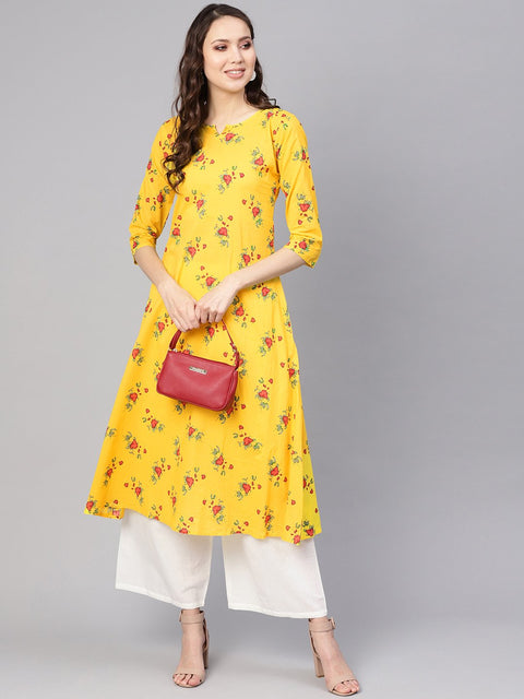 Women Yellow & White Printed Kurta with Palazzos