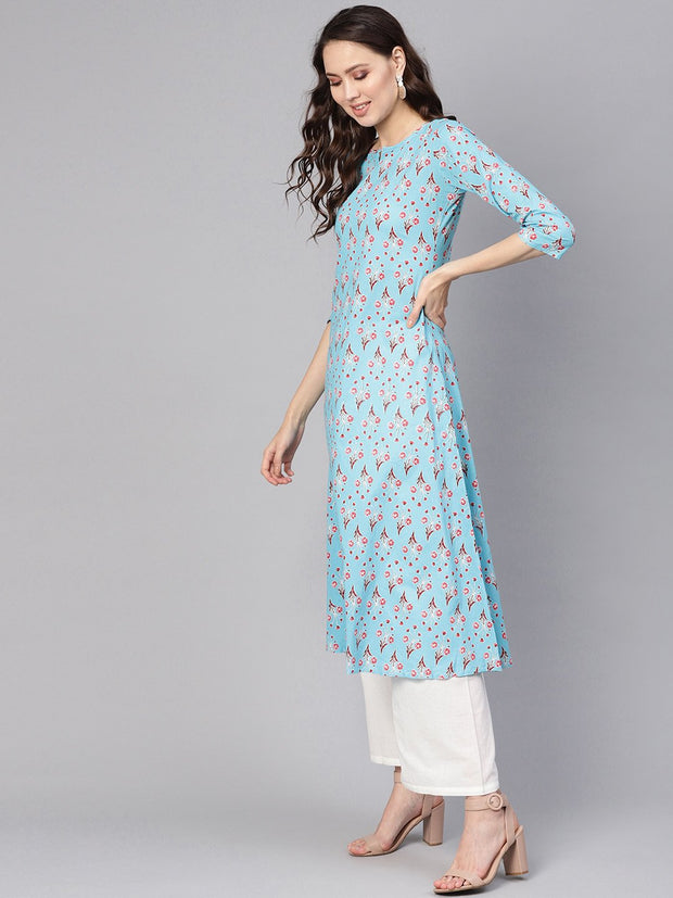 Women Blue & White Printed Kurta with Palazzos