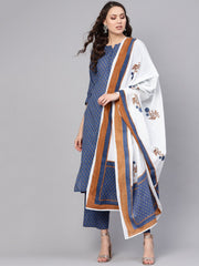 Women Blue & White Printed Kurta with Trousers & Dupatta
