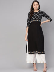 Women Black & White Printed Kurta with Palazzos