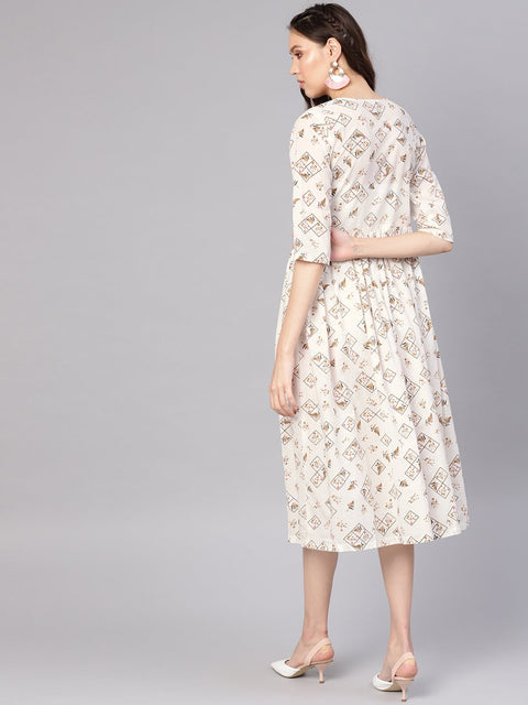 Women Off-White & Brown Printed A-Line Dress
