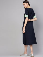 Women Navy Blue & Green Colourblocked A-Line Dress