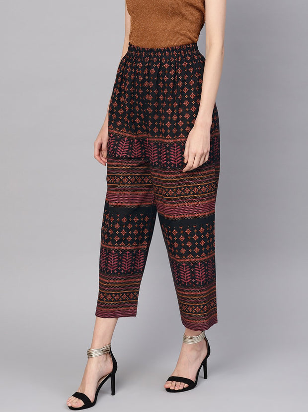 Women Black & Orange Printed Cropped Straight Palazzos
