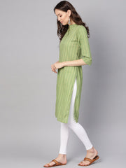 Women Green & Red Striped Straight Kurta