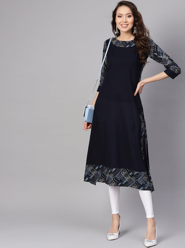 Women Navy Blue Solid A-Line Kurta
