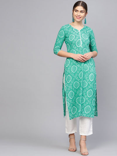 Women Green & White Printed Straight Kurta
