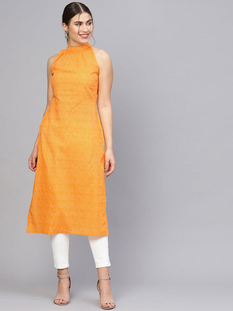 Women Orange & Off-White Striped Straight Kurta