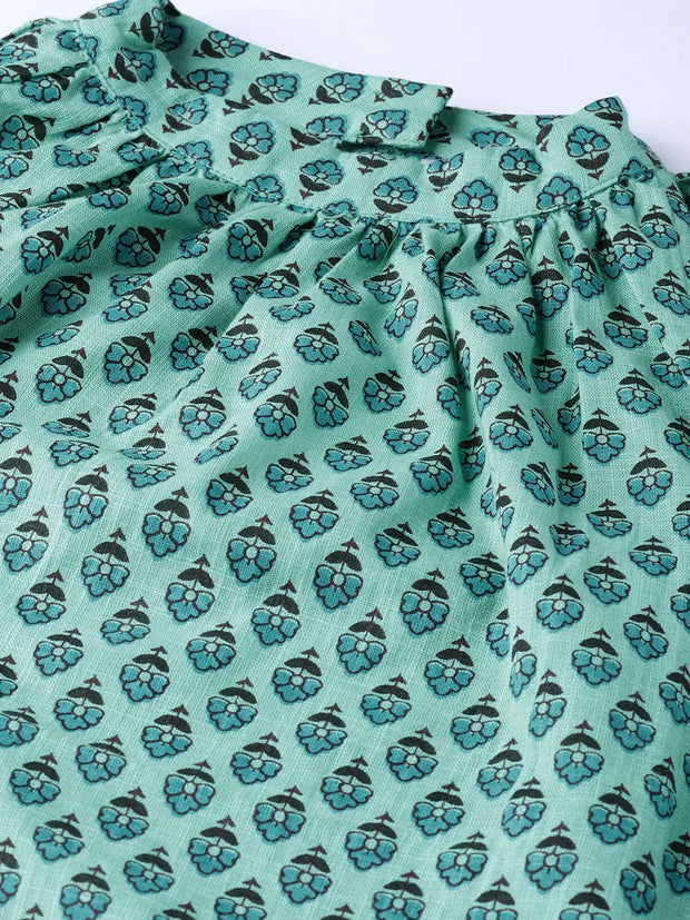 Women Green & Blue Printed Straight Kurta