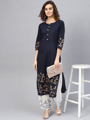 Women Navy Blue & White Printed Kurta with Palazzos