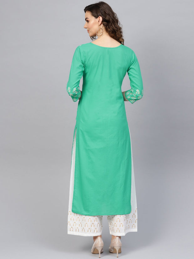 Women Green & White Printed Kurta with Palazzos