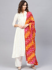 Women Off-White & Pink Striped Kurta with Palazzos & Dupatta