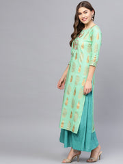 Women Green & Blue Printed Kurta with Skirt & Dupatta