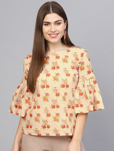 Women Cream-Coloured & Orange Printed Top