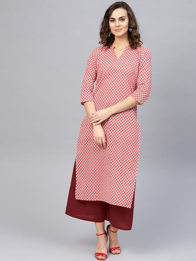 Women Red & Maroon Printed Kurta with Palazzos