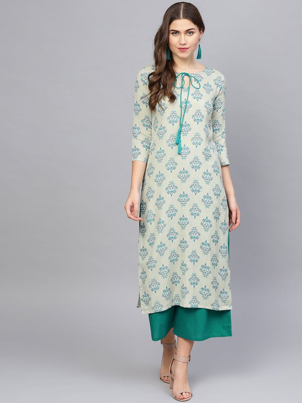 Women Green & Grey Printed Kurta with Palazzos