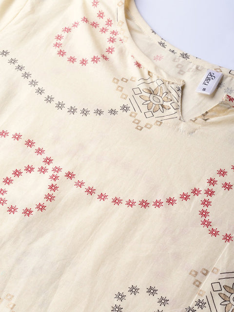 Women Cream-Coloured & Red Printed Kurta with Trousers