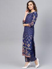 Women Blue & Golden Printed Kurta with Trousers