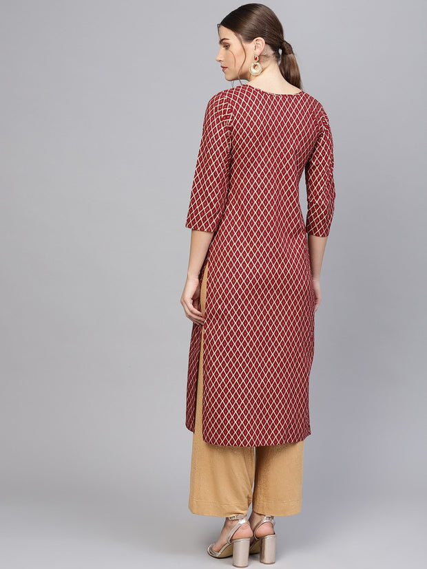 Women Maroon & Golden Printed Straight Kurta