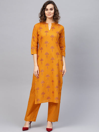 Women Mustard Yellow & Red Printed Kurta with Trousers