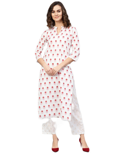 Women White & Red Printed Kurta with Trousers
