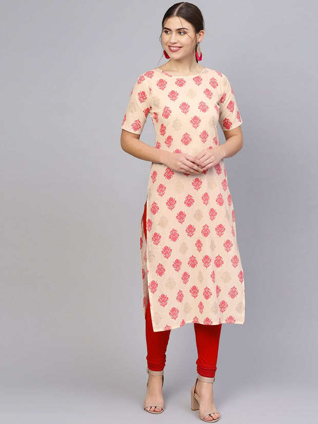 Women Cream-Coloured & Pink Printed Straight Kurta
