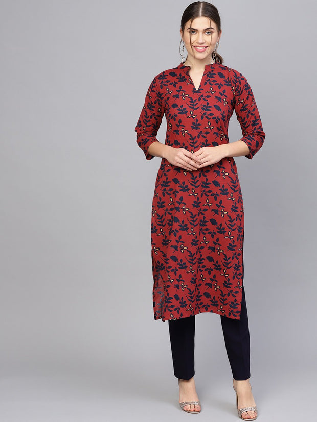 Women Maroon & Navy Blue Printed Straight Kurta