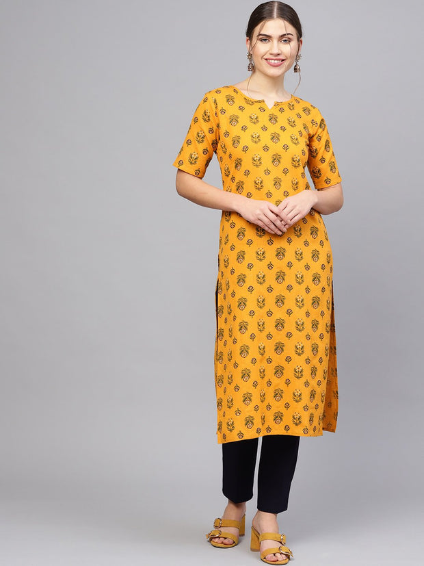 Women Mustard Yellow & Green Printed Straight Kurta
