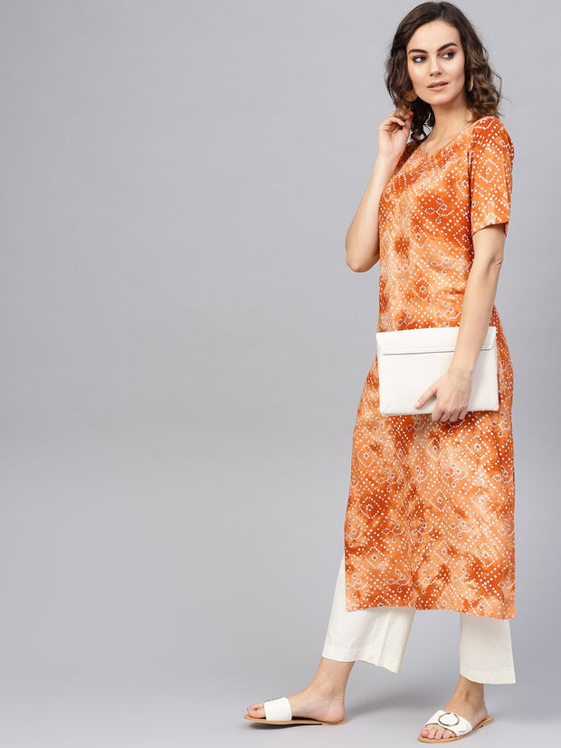 Women Rust Orange & White Bandhani Printed Straight Kurta
