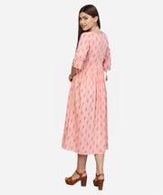 Women Peach-Coloured Printed A-Line  Dress