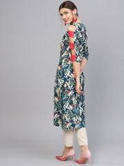 Women Navy Blue & Green Printed Straight Kurta