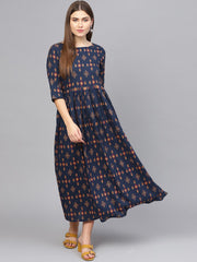 Women Navy Blue & Beige Printed Maxi Dress
