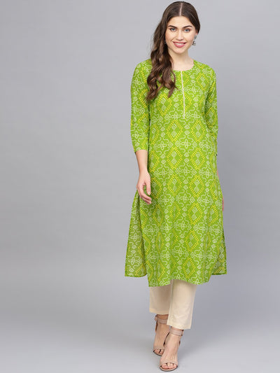 Women Green & Cream-Coloured Printed Kurta with Trousers