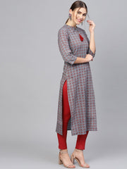 Women Navy Blue & Maroon Printed Straight Kurta