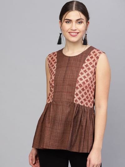 Women Brown Printed A-Line Top