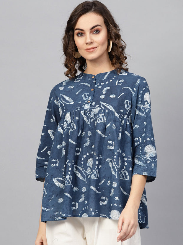 Women Blue & Off-White Printed Tunic